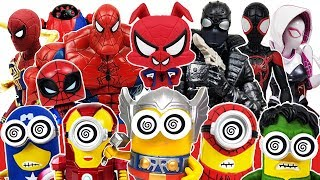Marvel Avengers & Spider-Man Into the Spider-Verse, Miles Morales, Gwen, Minions, Ralph Toys Play