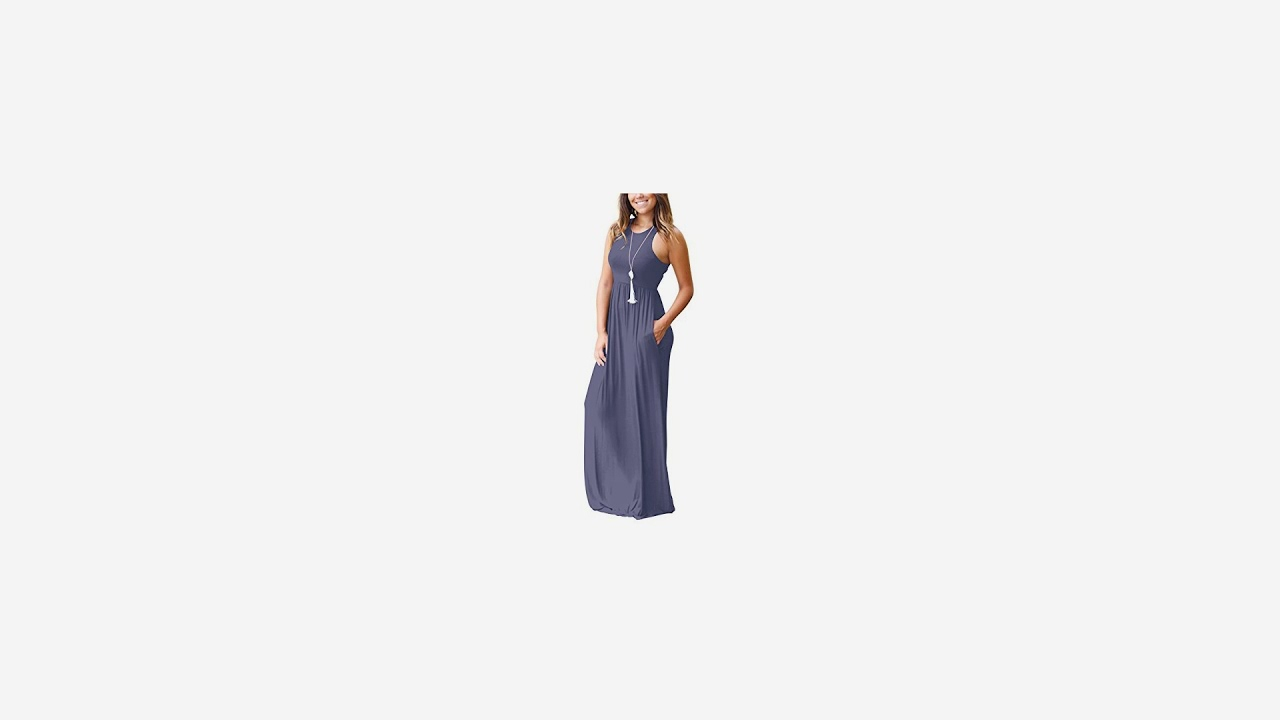 e89517aafa6f GRECERELLE Women's Sleeveless Racerback Loose Plain Maxi Dresses Casual  Long Dresses.