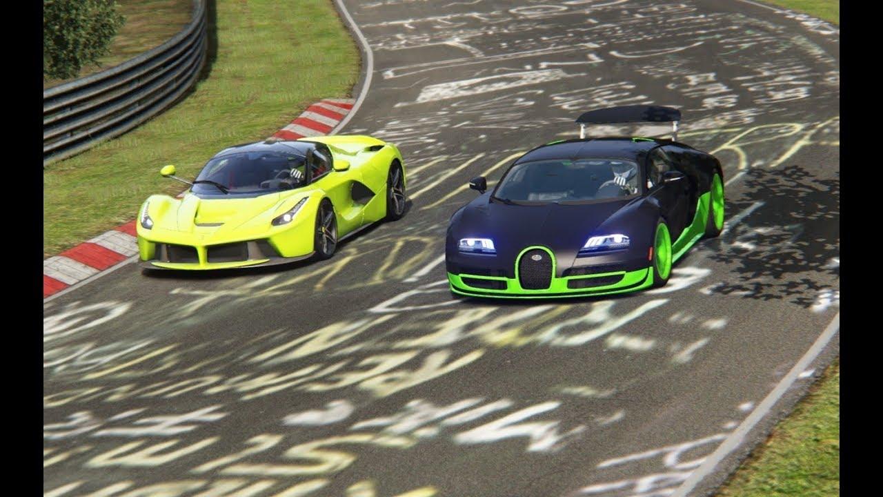 ferrari laferrari vs bugatti veyron 16 4 super sport at nordschleife youtube
