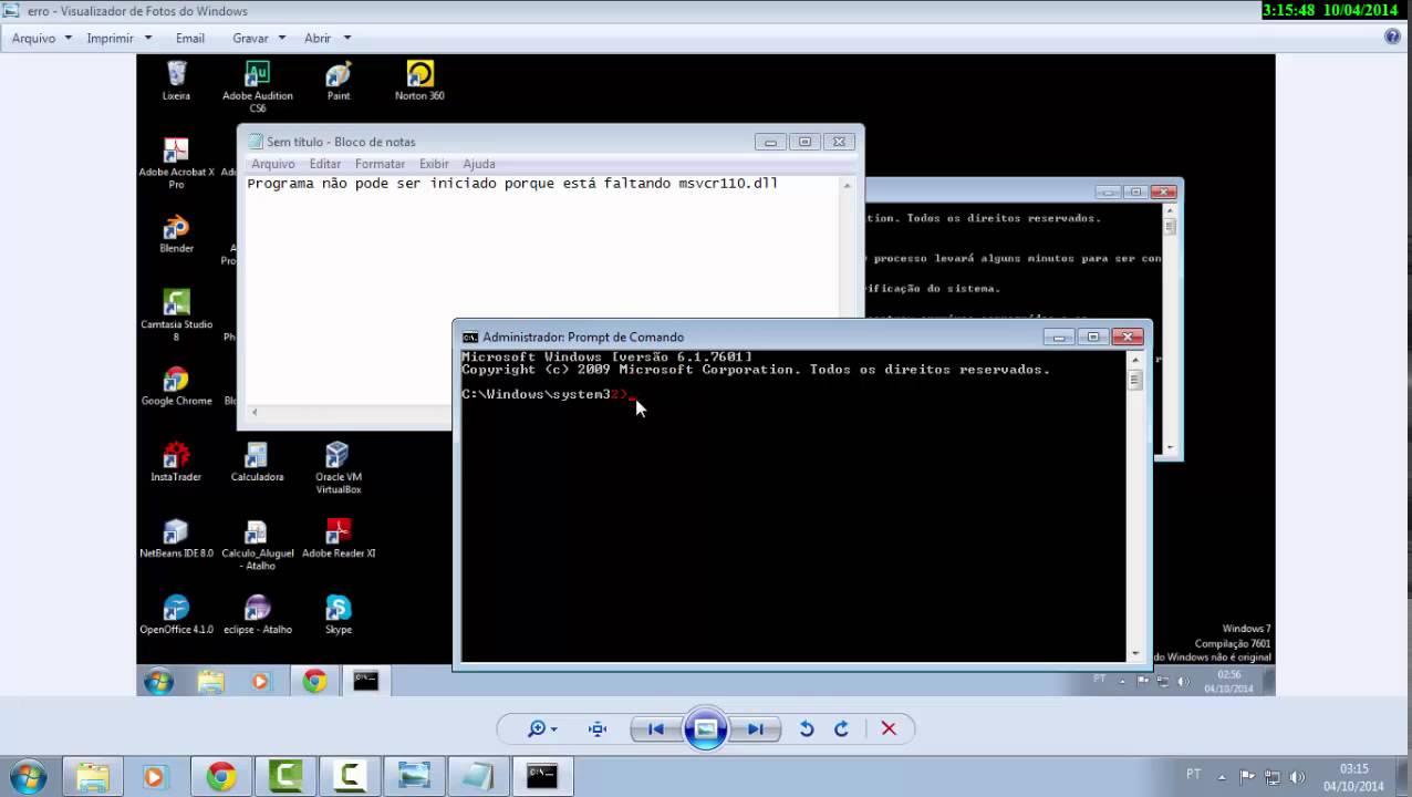 Programa n o pode ser iniciado porque est faltando msvcr110 dll
