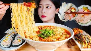 계란푼 진라면 매운맛에 참치폭탄김밥 파김치 신김치 먹방/SPICY NOODLE SOUP RAMEN * TUNA MAYONNAISE GIMBAP MUKBANG Makanan Enak