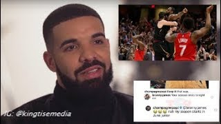 drake reacts to cavs vs raptors by responding to lebron james son bronny ahead of game 4