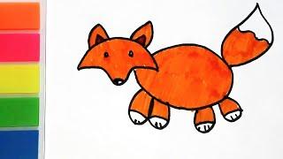 Видео урок для детей как нарисовать хитрого лисенка. Нарисуй и Разукрась лису.