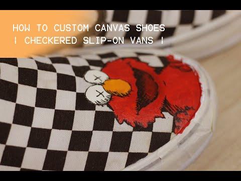 Custom Checkered Slip-on vans -- Kaws x Sesame street