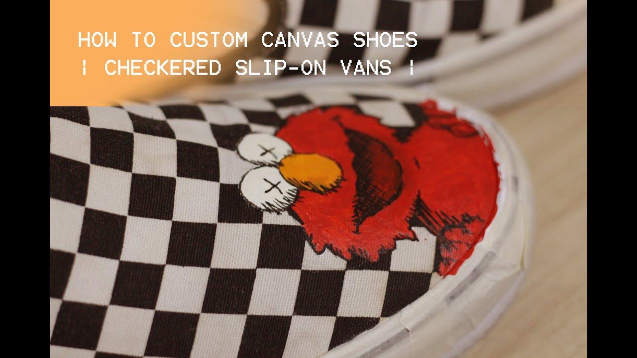 Custom Checkered Slip-on vans -- Kaws x