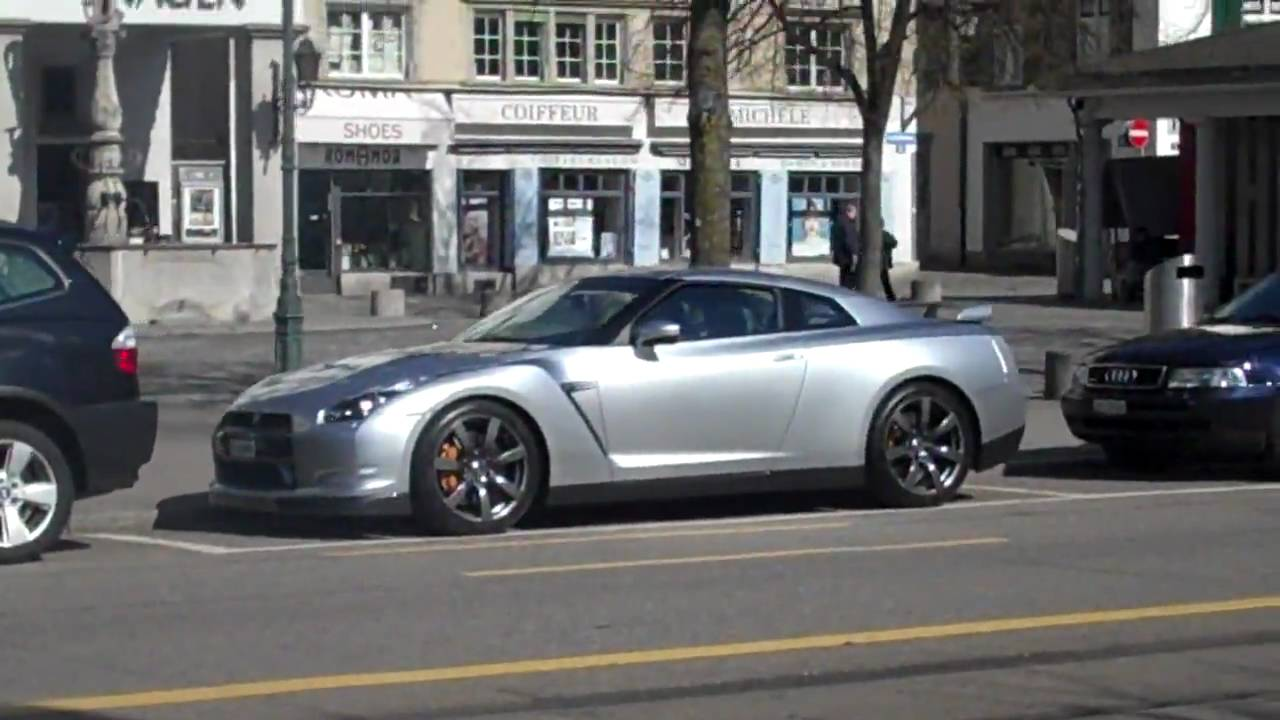 Silver Nissan Gtr And Black Aston Martin Db9 In Zurich Good Spot