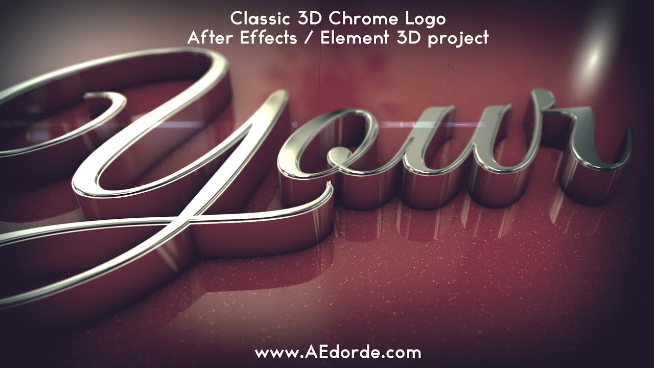 classic 3d chrome logo after effects element 3d project youtube
