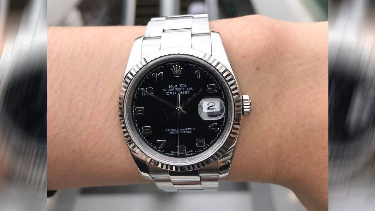 766b33c50cd02 Rolex Datejust 116234 Black dial 36 mm stainless steel and white gold Swiss  luxury watch on wrist