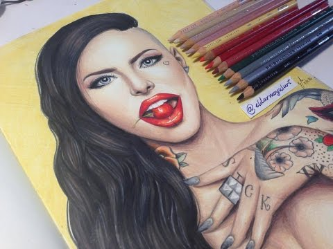 Time lapse drawing-Christy Mack (Prismacolor)