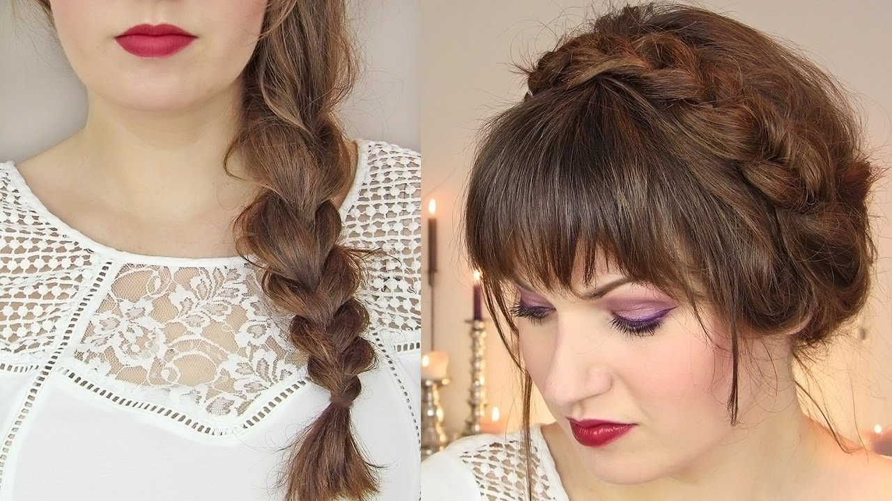 cute hairstyles for thin hair: thick braid & milkmaid updo
