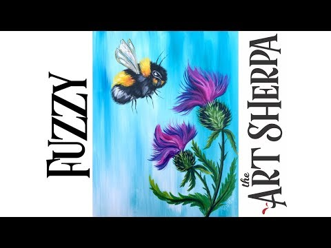 How To Paint A Fuzzy Bumble Bee And Thistles With Acrylic