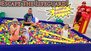 Escape the LifeGuard!!! Giant Lego Ball Pit Edition!