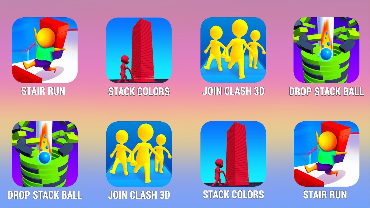STAIR RUN, StackColors, Join Clash, Drop Stack Balls, Walkthrough (iOs, Android) | Power of Gameplay