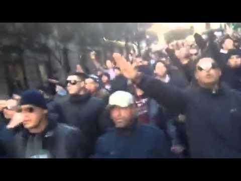 Glasgow, gli ultras laziali sfilano facendo il saluto romano