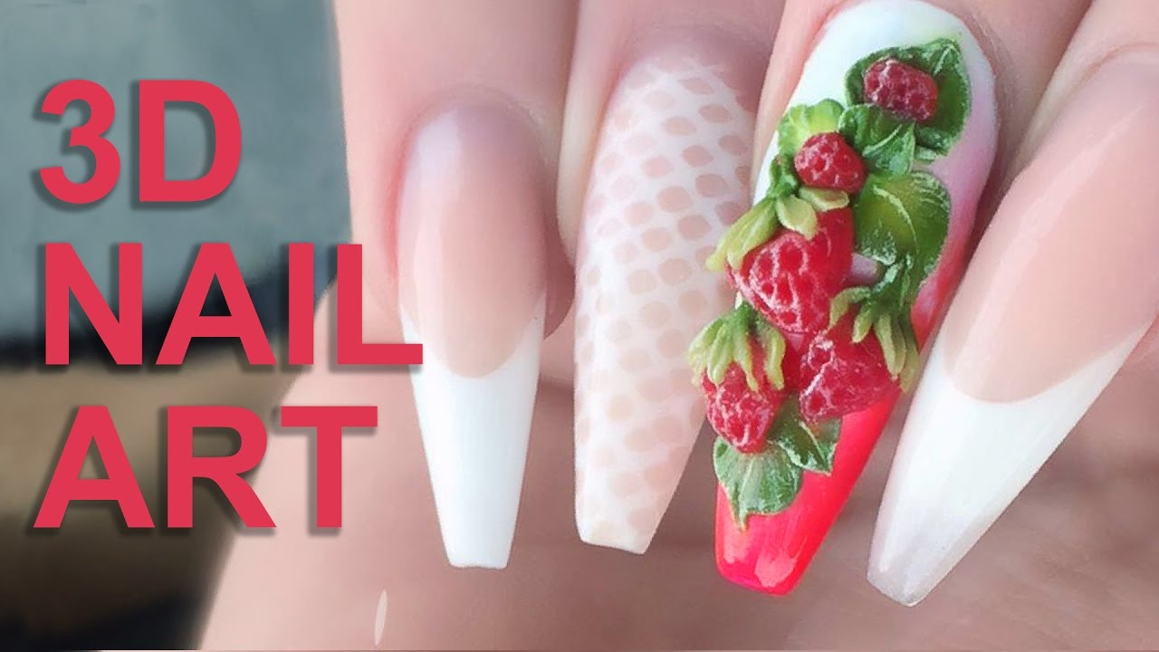 3D Acrylic Strawberries  Fresh Summer Fruits 3D Nail Art