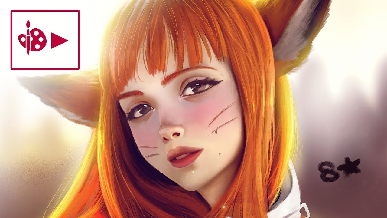 Digital painting process Photoshop Practice stylized portrait Foxy girl