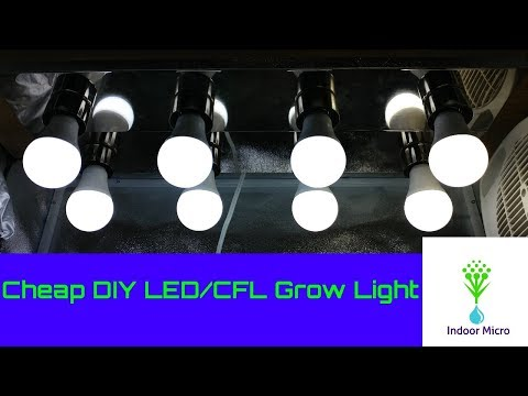 How To Make A Cheap DIY LED/CFL Grow Light Fixture! Indoor Micro