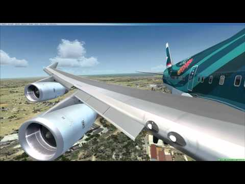 FSX PMDG 747-400 Landing in  Heydar Aliyev Int'l Airport (Baku) UBBB From Hong Kong VHHH HD.