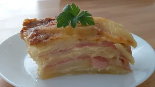 Pastel de patatas con jamón , receta fácil y deliciosa.