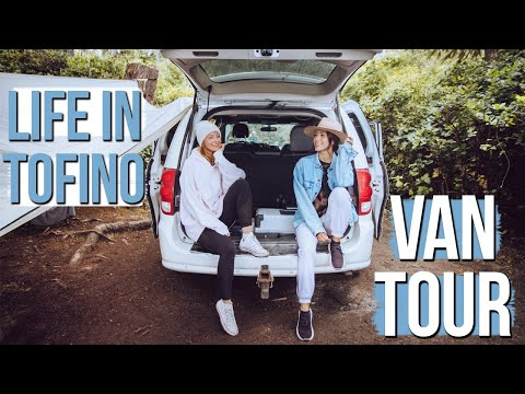 MINIVAN CAMPER TOUR IN TOFINO (How Two Girls Sleep In Here) #VANLIFE