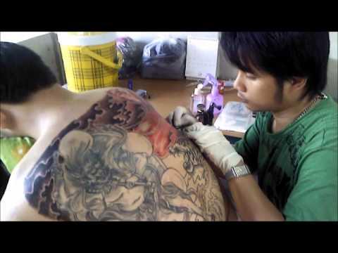 สักลายเสือ(Tiger Japan style Tattoo) part-1 Chai Tattoo ลำปาง
