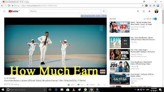 Guru Randhawa: Lahore Video Song - How Much Earn On Youtube - Urdu/Hindi