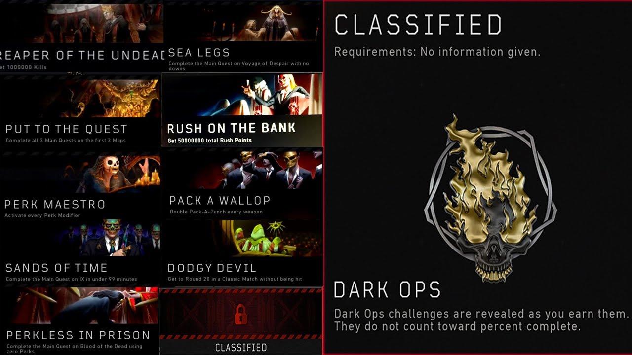 dark ops zombies challenges