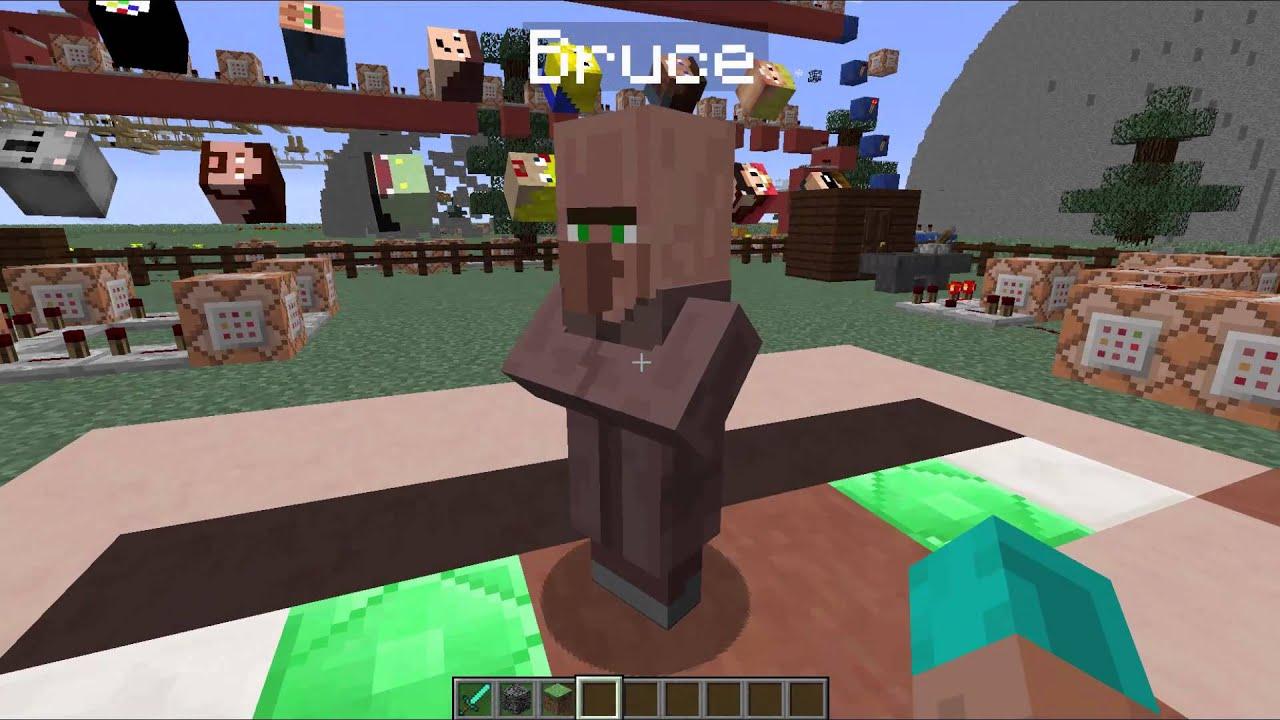 Minecraft Tutorials Riesige Spielerköpfe Villager Als Knopf - Minecraft spielerkopfe befehl
