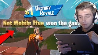 Getting carried by Not Mobile TFue! (I kept STEALING his kills) - Fortnite Mobile