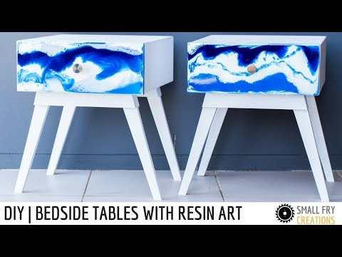 DIY bedside tables with resin art drawer fronts