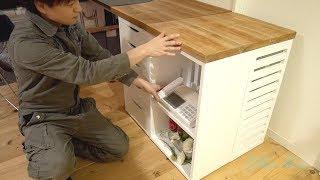 [木工DIY] ルーター等収納付き電話台DIY / Shelf for telephone and ruter DIY