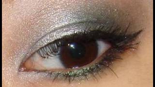 holiday silver smokey green eye makeup tutorial