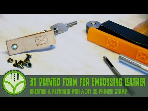 Embossing a leather keychain with a 3d printed stamp