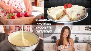 No Bake Strawberry And White Chocolate Cheesecake