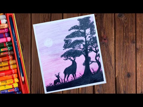 How to draw a Deer Landscape Drawing with Oil Pastels – step by step