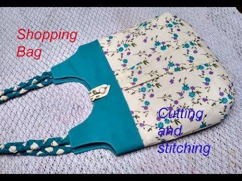 DIY cutting stitching of shopping bag in hindi / handmade handbag / shoulder bag / market bag