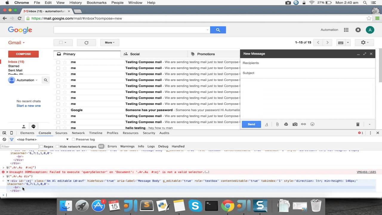 Selenium tutorials Video 7: Automating Compose mail