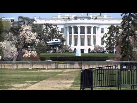 President Obama lands helicopter at the White House