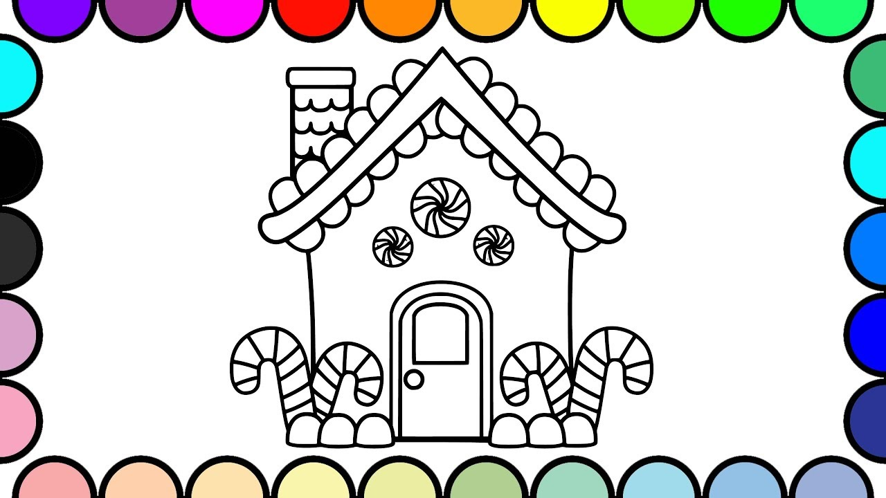 How To Draw A Candy House House Drawing For Kids Coloring Pages