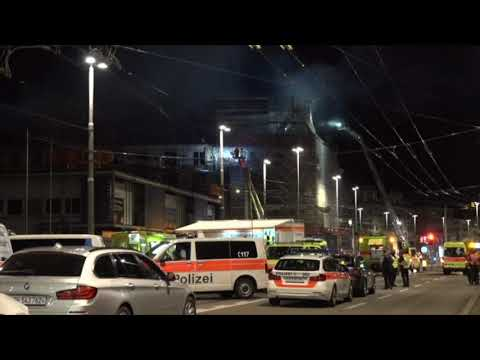 Fire engulfs building near Zurich train station