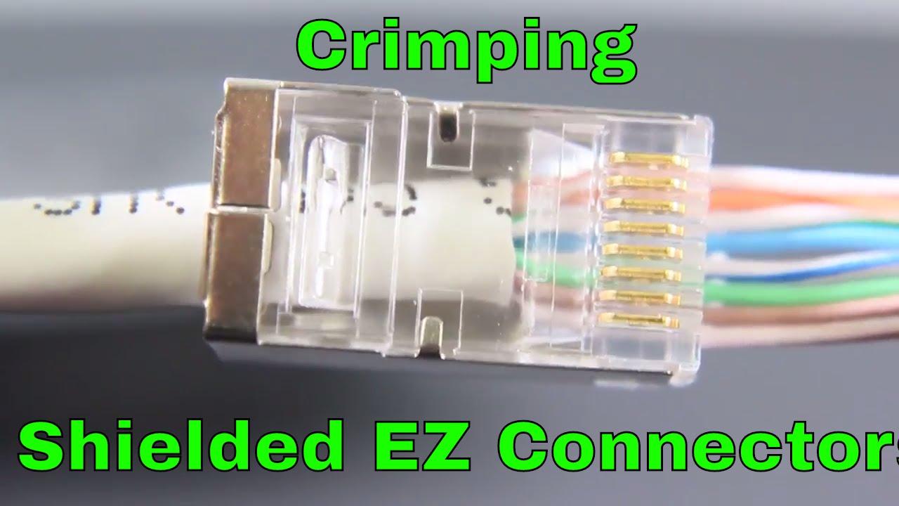 shielded ez rj45 cat6 connectors being crimped youtubeshielded ez rj45 cat6 connectors being crimped [ 1280 x 720 Pixel ]