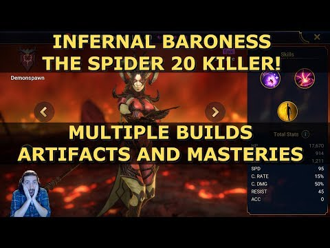 Best Infernal Baroness Raid Shadow Legends Guide   Epic Spider 20 Champion   Masteries and Artifacts