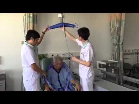Ceiling hoist demonstration at Yishun Community Hospital
