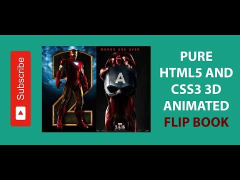 Pure Html5 And Css3 3D Animated Flip Book