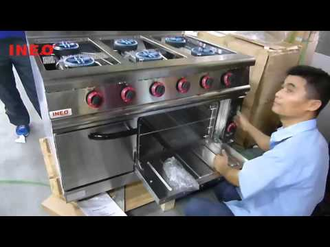 Hotel Restaurant Kitchen Equipment Stainless Steel Commercial Gas Range With 6-Burner & Oven