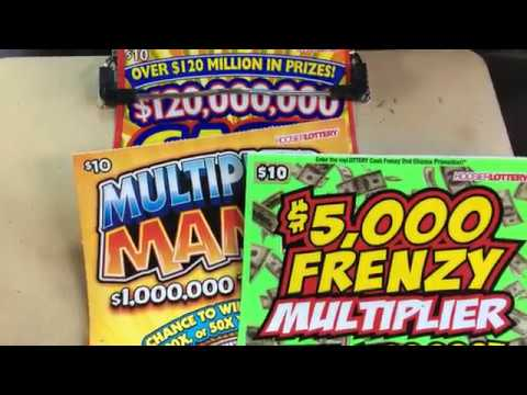 3 X $10 Hoosier Lottery Scratch Off's  Spectacular, Frenzy, with a side of Mania !