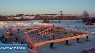 видео Монтаж свайного фундамента на проблемных грунтах