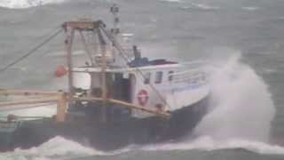 Brixham BM127 Harvester In Rough Seas - May 1st 2015