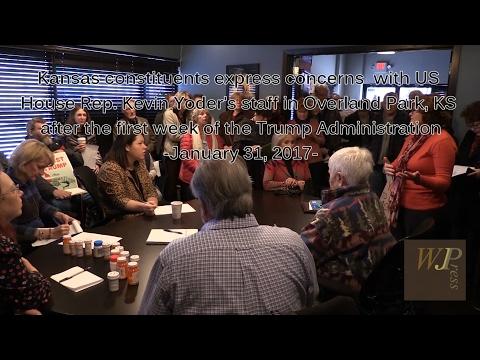 'Indivisible' constituents visit Kansas Congressman Kevin Yoder's office 1-31-17