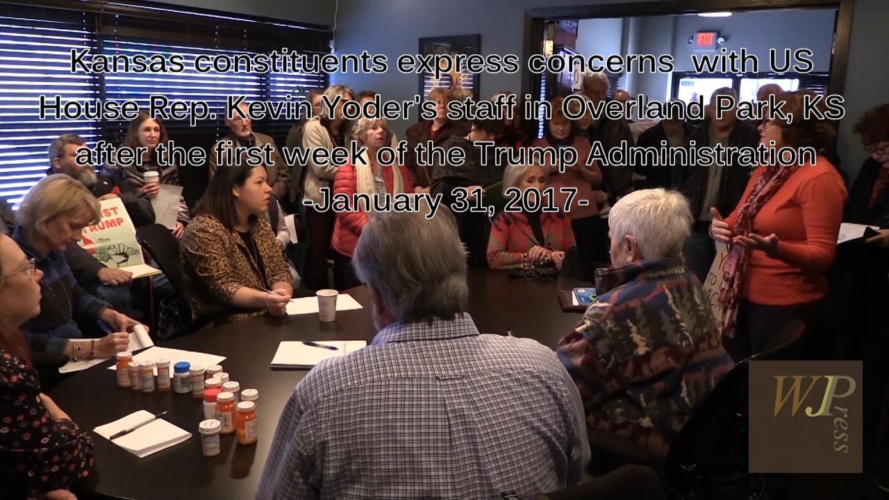 Charmant U0027Indivisibleu0027 Constituents Visit Kansas Congressman Kevin Yoderu0027s Office  1 31 17